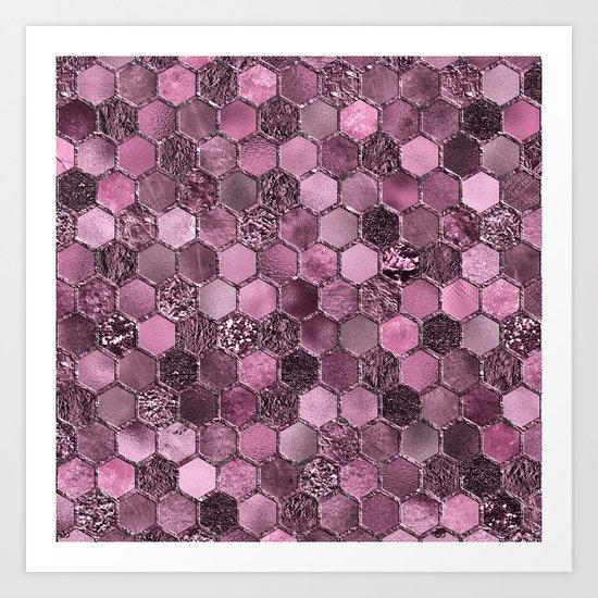 Pink & purple geometric hexagonal elegant & luxury pattern Art Print