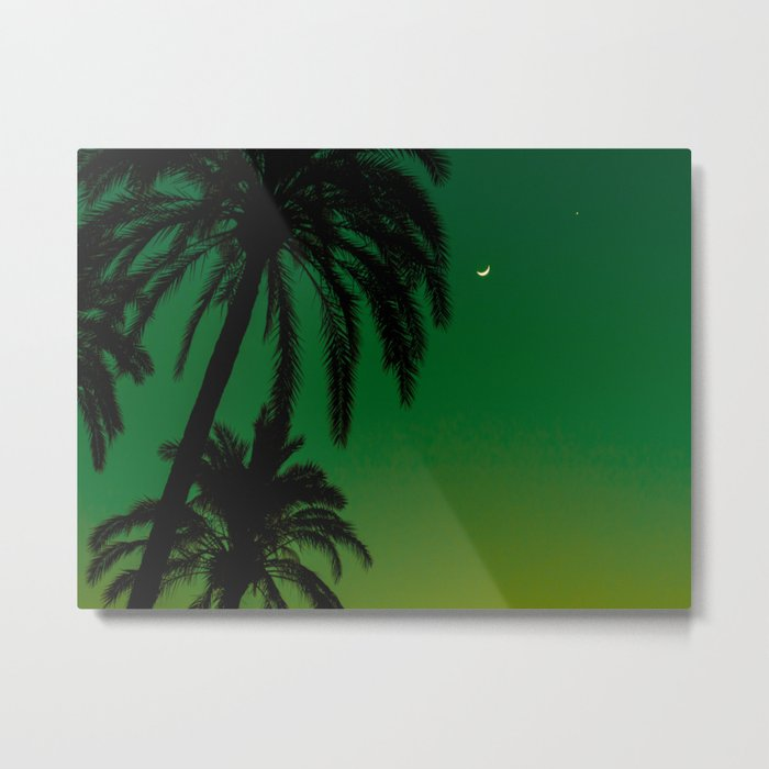 Tropical Palm Tree Silhouette Green Ombre Sunset Crescent Moon At Night Metal Print
