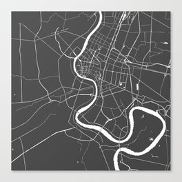 Bangkok Thailand Minimal Street Map - Gray and White II Canvas Print