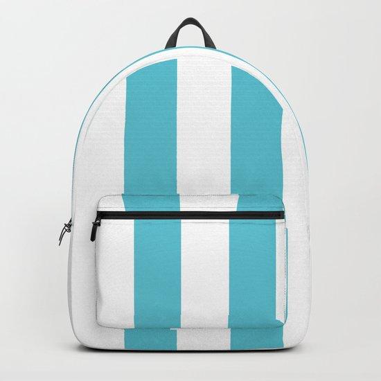 Simply Vertical Stripes in Seaside Blue Backpack