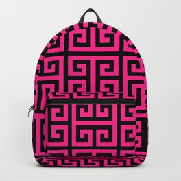 Greek Key (Black & Dark Pink Pattern) Backpack