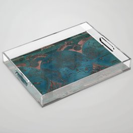 Rose gold and teal antique world map with sail ships Acrylic Tray