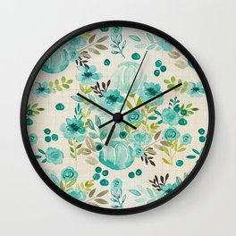 Bella Blue Vintage Blossoms, Watercolor Flowers, Floral Pattern, Wall Clock