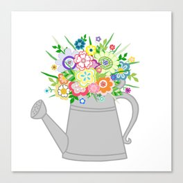 Watering Can with Whimsical Flowers Canvas Print