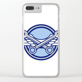 Crossed Spanner Air Force Wings Icon Clear iPhone Case
