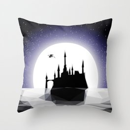 Moonlight Stanza - Night Sea, Castle & the Moon Throw Pillow