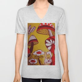 mushrooms and flowers Unisex V-Neck