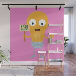 light bulb free hugs happy Bggq6 Wall Mural