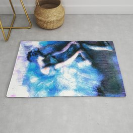 Degas The Dancer Turquoise Teal Dream Rug