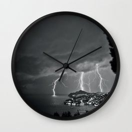 Lighting Storm on the coast, Adriatic Ocean black and white photograph Wall Clock