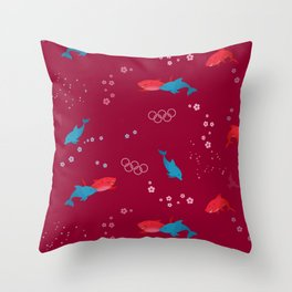 Red Shark and Dolphin Throw Pillow