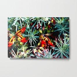Bee in among Red Flowers Metal Print