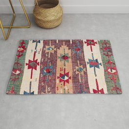 Horizontal Band Kilim 19th Century Authentic Colorful Purple Green Bands Vintage Patterns Rug