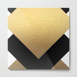 TriBlack & Gold Metal Print