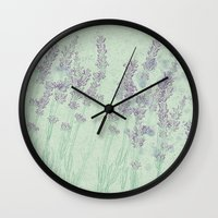 lavender Wall Clocks featuring Lavender by Dana Martin
