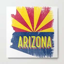 Distressed Arizona AZ State Flag Map Vintage 70s Metal Print