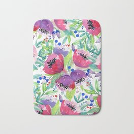 Be Happy, Be Bright, Be You - Pink flowers Bath Mat