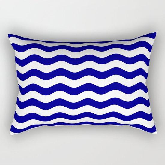 Wavy Stripes (Navy Blue/White) Rectangular Pillow
