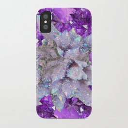 WHITE DRUZY QUARTZ & PURPLE AMETHYST CRYSTAL VIGNETTE iPhone Case