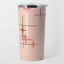 Mid Century Modern Stars Salmon Pink Travel Mug