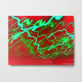 Rushing Groove red green aqua lights electric tech Angelis Metal Print