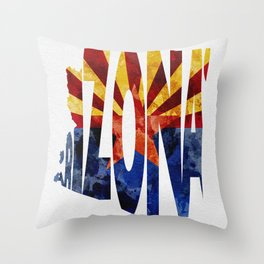 Arizona Typographic Flag Map Art Throw Pillow