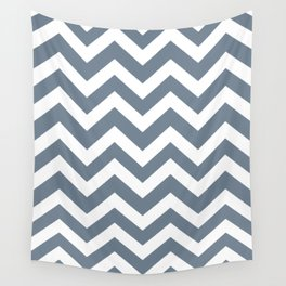 Slate gray - grey color - Zigzag Chevron Pattern Wall Tapestry