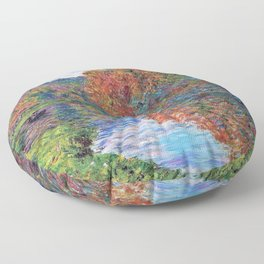 Le bras de Jeufosse, Autumn by Claude Monet Floor Pillow