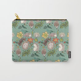 Hedgehogs Field in Green Carry-All Pouch