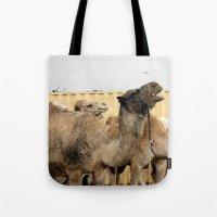 israel Tote Bags featuring Israel Camels - Negev Desert by Rachel J