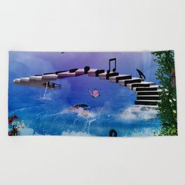 Music, piano with birds and butterflies Beach Towel