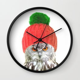 Owl with cap winter holidays Wall Clock