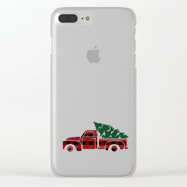 Buffalo plaid Christmas tree truck Clear iPhone Case