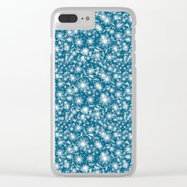 fine white flowers pattern Clear iPhone Case