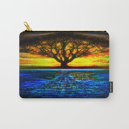 Duality Tree of Life Reflection Moon & Sun Day & Night Painting by CAP Carry-All Pouch