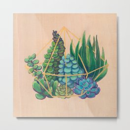Geometric Terrarium 1 Acrylic on Wood Painting Metal Print