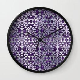 Sri Yantra  / Sri Chakra Pattern - Pearl Amethyst Wall Clock