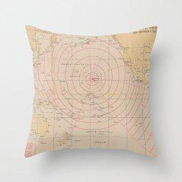 Vintage Hawaii Seismic Tsunami Wave Map (1947) Throw Pillow