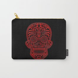 Intricate Red and Black Day of the Dead Sugar Skull Carry-All Pouch