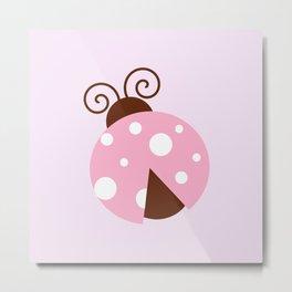 Ladybug (Ladybird, Lady Beetle) - Pink White Metal Print
