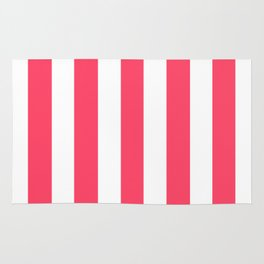 Magic Potion fuchsia - solid color - white vertical lines pattern Rug