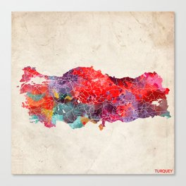 Turquey map square 2 Canvas Print