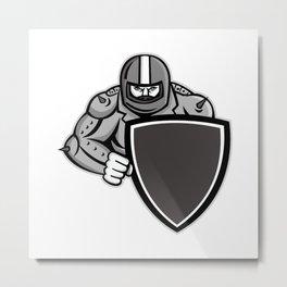 Motorcycle Biker With Shield Mascot Metal Print