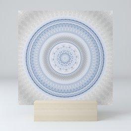 Elegant Blue Silver China Inspired Mandala Mini Art Print