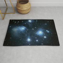 The Pleiades reflection nebula in the constellation of Taurus. Open star cluster. Rug
