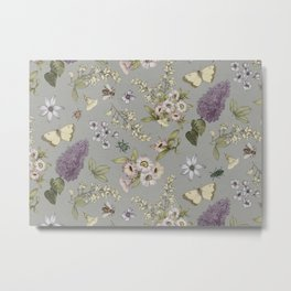 spring flowers with butterfly and beetles I Metal Print