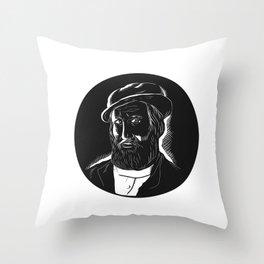 Hernan Cortes Conquistador Woodcut Throw Pillow