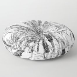 California Palm Trees, Black & White Floor Pillow