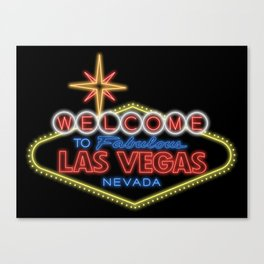 Welcome To Vegas Sign Digital Drawing Night Canvas Print