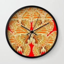 RED  RUSTY CREAMY MONARCH BUTTERFLIES PATTERN Wall Clock
